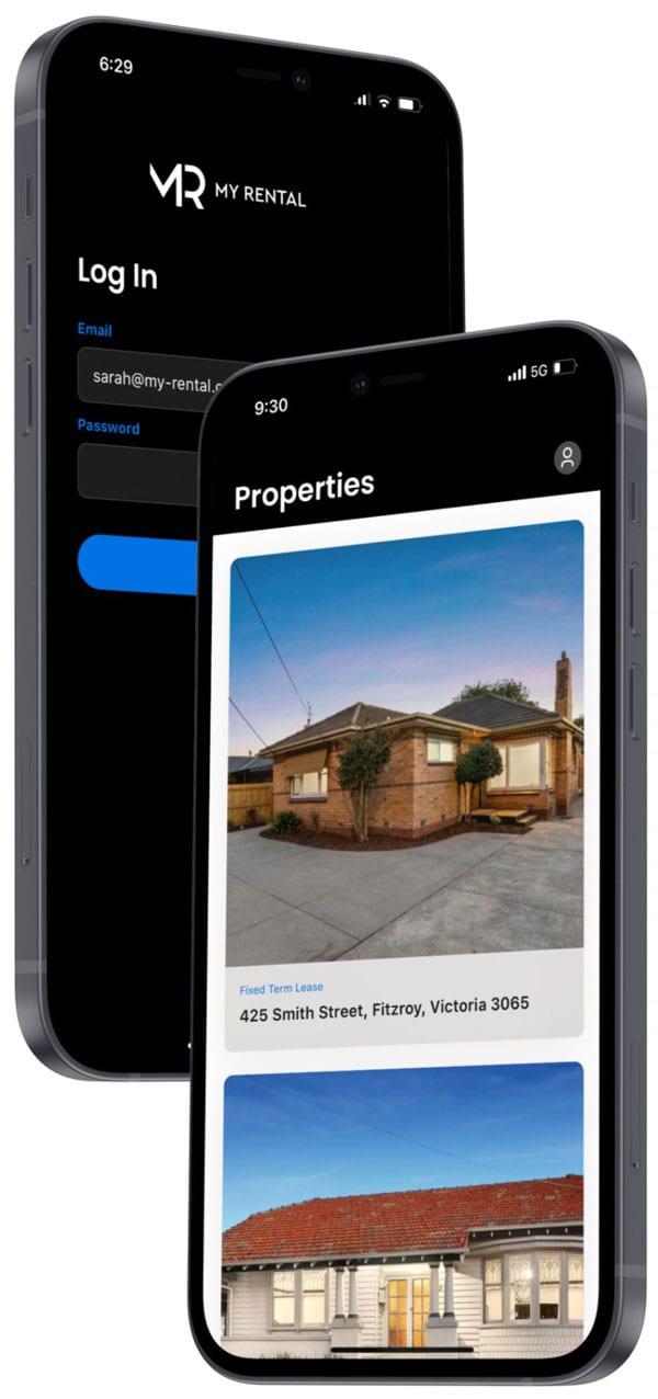 Smartphone with My-Rental app screen listing properties