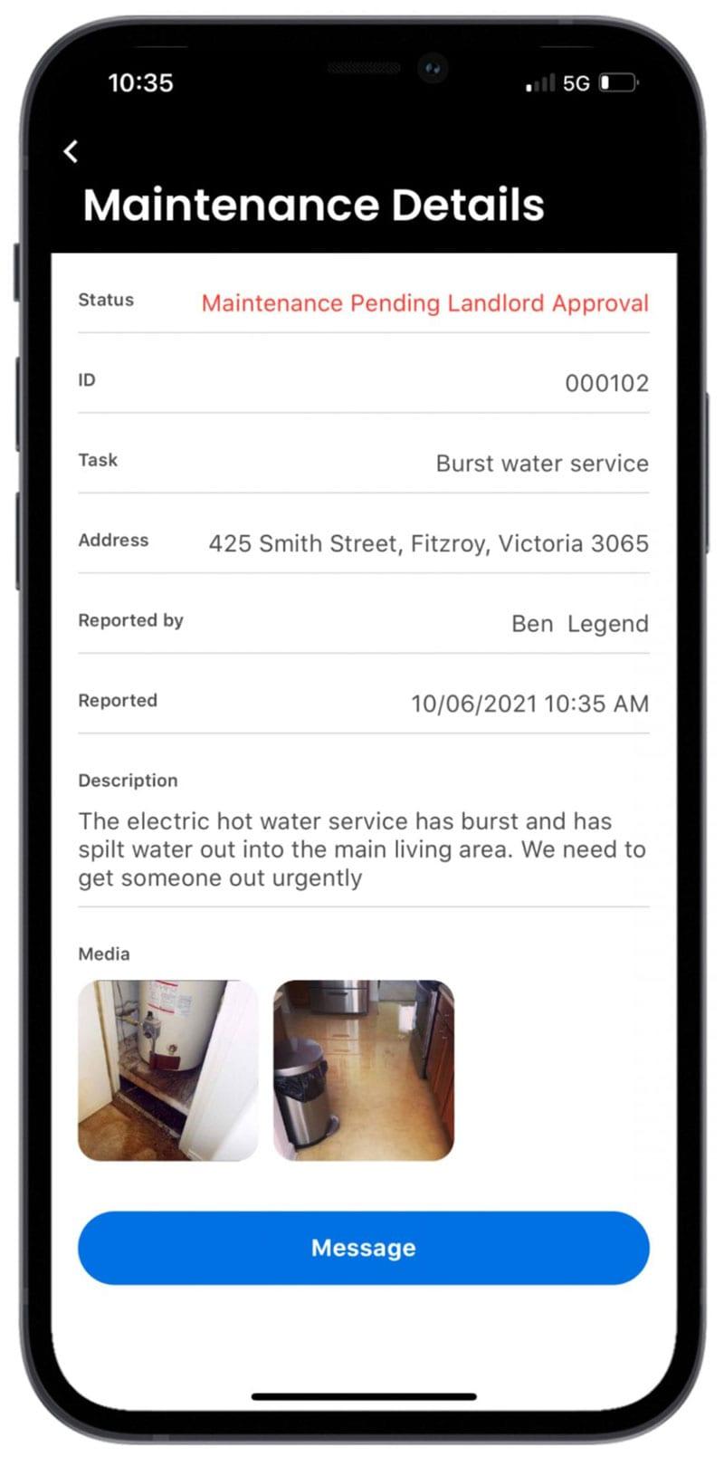 Smartphone with My-Rental App maintenance details screen