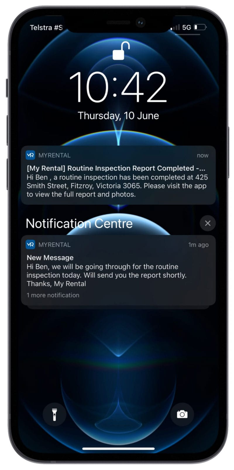 Smartphone with My-Rental App screen with push notifications